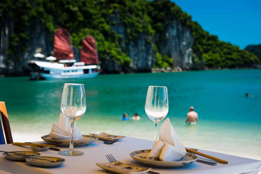 BBQ on private beach with halong bay cruise services