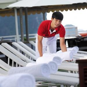 luxury sundeck of halong cruise