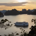 view of sunset in halong bay with starlight cruise tour