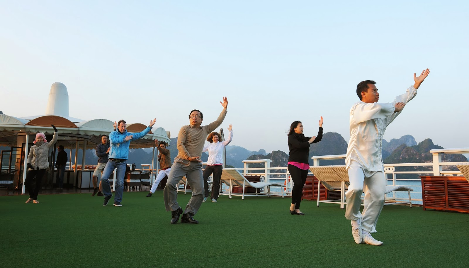 Tai Chi Exercise with Starlight halong bay cruises