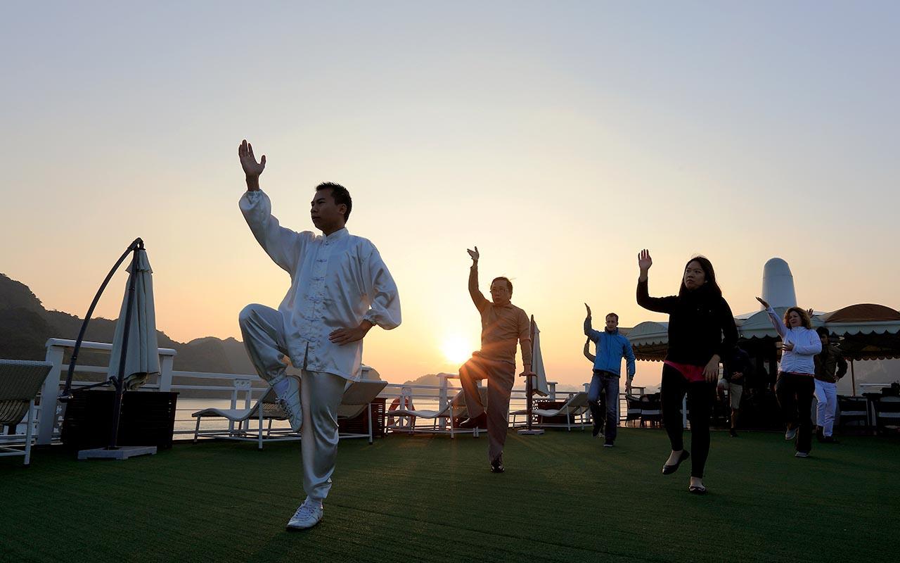 morning exercise on halong bay cruise