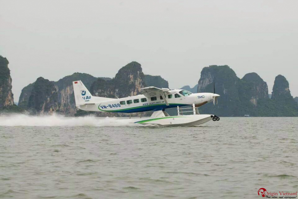 Admire Halong Bay on seaplane